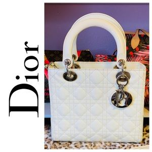 MINT Lady Dior Cannage Patent Medium Cream Tote